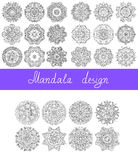 Set of 26 mandala design, circle ornament. Collection for print, or web, abstract round geometric pattern vector illustration stock illustration