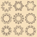 Set of mandala frames. Decorative round ornaments. stock image