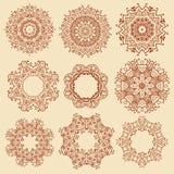 Set of mandala, henna pattern Royalty Free Stock Image