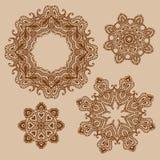 Set of mandala, henna pattern Royalty Free Stock Photos