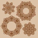 Set of mandala, henna pattern Royalty Free Stock Images