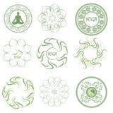 Set mandala, illustrations and logos on the theme of yoga Stock Photo