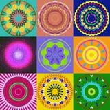 Set of mandala ornament generated textures Stock Photos