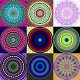 Set of mandala ornament generated textures Stock Images