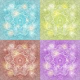 Set of mandala snowflake background Stock Images
