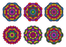 Set of mandalas. Beautiful hand drawn flowers. Royalty Free Stock Images