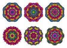 Set of mandalas. Beautiful hand drawn flowers. Royalty Free Stock Images