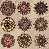 Set of 9 mandalas Royalty Free Stock Images