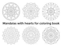 Set mandalas with hearts. Collection symmetric circular ornaments Stock Images
