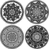 Set of mandalas Monochrome. Paint Stock Images