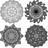 Set of mandalas Monochrome. Paint Royalty Free Stock Images