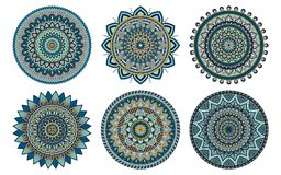 Set of 6 mandalas painted in the same palette, vector illustrati Royalty Free Stock Photo