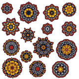 Set of mandalas, round ethnic ornament. Vintage lace pattern. Vector circle background. Royalty Free Stock Photography