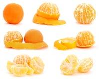 Set Mandarinefrüchte auf Weiß Lizenzfreies Stockfoto