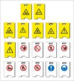 set of mandatory sign, hazard sign, prohibited sign, occupational safety and health signs, warning signboard, fire emergency sign stock illustration