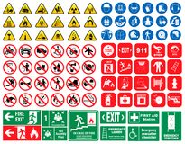 Set of mandatory sign, hazard sign, prohibited sign, fire emergency sign. For sticker, posters, and other material printing. easy to modify Royalty Free Illustration