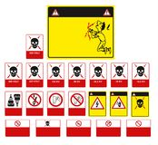 Set of mandatory sign, hazard sign, prohibited sign, occupational safety and health signs, warning signboard, fire emergency sign royalty free illustration