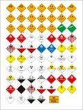 Set of mandatory sign, hazard sign, prohibited sign, occupational safety and health signs, warning signboard, fire emergency sign vector illustration