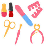 Set of manicure icons. Set of cute cartoon manicure icons Stock Images