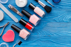 Set for manicure and make-up on wooden background Royalty Free Stock Photos