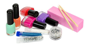 Set for manicure and pedicure with optional accessories. Isolated Royalty Free Stock Image