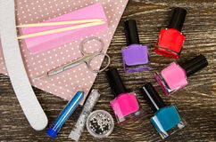 Set for manicure and pedicure with various tool and nail Polish Stock Photos