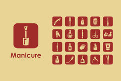 Set of manicure simple icons Stock Image