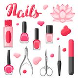 Set of manicure tools. Nail polishes and professional equipment for manicure salons Stock Illustration