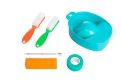 Set manicure'u lub pedicure'u narzędzia, odosobniony na czystym białym tle obrazy stock