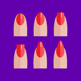 Set of manicured red nails. With various shapes Royalty Free Stock Image