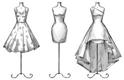 Set of mannequins. Dummies with dresses. Fashion illustration. Royalty Free Stock Image