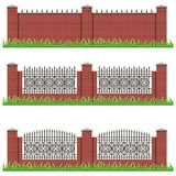 Set of manor or garden brick fences decorated with iron grille Stock Image