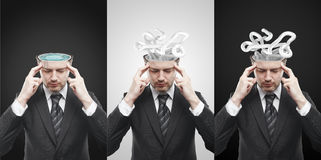 Set of mans with confusing tangle of thoughts. Stock Photo