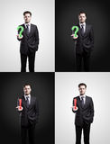 Set of mans with a question and exclamation marks Royalty Free Stock Photos