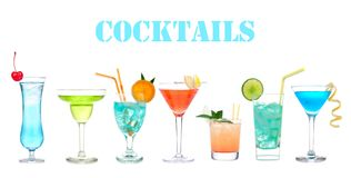 Set of many alcohol cocktails Blue Hawaiian, Martini, Cosmopolitan, Mojito tropical cocktail drinks with alcohol. Vodka on a white background stock photography