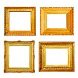 Set of many antique gold frames isolated on white Royalty Free Stock Images