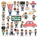 Set of Many Cartoon People and Business Concepts. Vector Illustration royalty free illustration