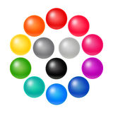 Set of Many Colorful Balloons. Vector Rainbow Matte Orbs. 3D Spectrum Buttons Stock Photography