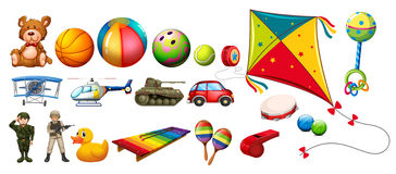 Set of many colorful toys. Illustration Royalty Free Stock Photos