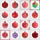 Set of many decorative ornamental pomegranates made of doodles. Vector abstract illustration of fruit logo for branding, poster or. Packaging design Royalty Free Stock Image