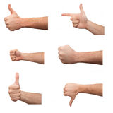 Set of many different hands over white background Royalty Free Stock Images