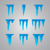 Set of many different icicles Stock Photo