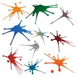 Many colored splashes. A set with many differently colored splashes stock illustration