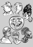 Set many faces Stock Photo