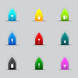 Set of many Glass icon Royalty Free Stock Images