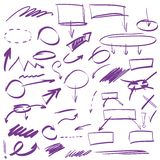 Set of many hand-drawn arrows isolated Royalty Free Stock Photography