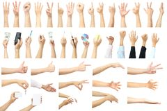 Set of many hands concept Stock Images