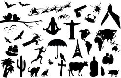 Set of many interesting silhouettes Stock Photo