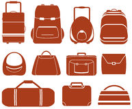 Set red isolated bag Royalty Free Stock Images