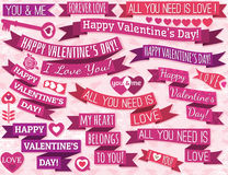 Set of many ribbon valentines design, vector Royalty Free Stock Images